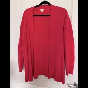 Talbots coral pink unstructured cardigan sweater.